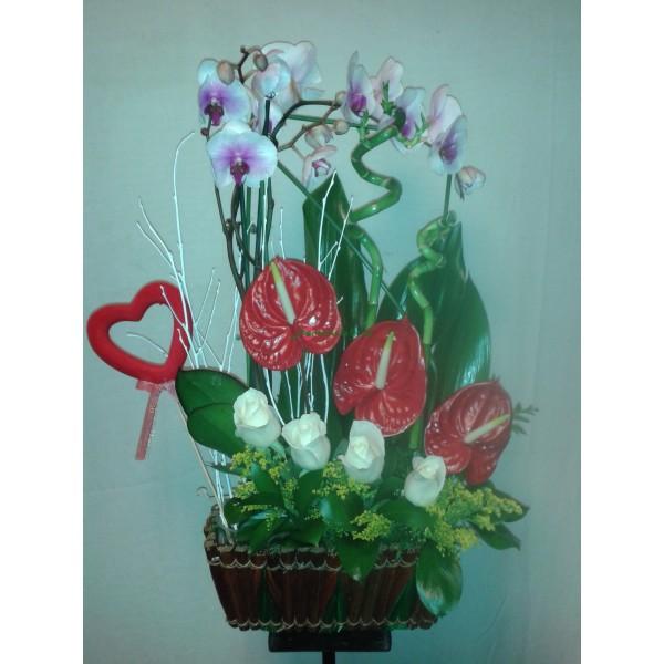 cesta orquidias,anturiun y rosas