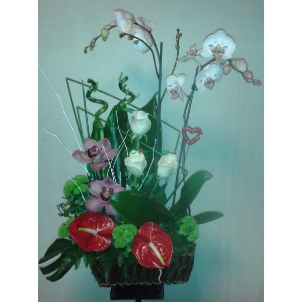 cesta rosas y orquideas